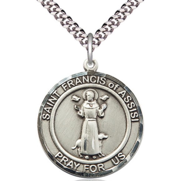 Sterling Silver St Michael the Archangel Pendant 1 x 7//8 inches with Heavy Curb Chain